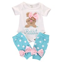 2pcs/Set !newborn baby girl clothes set Kids Baby Girl Romper+Leg Warmer Stocking Clothes Outfit Set