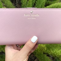 NWT Kate Spade Mikas Pond Stacy Bifold Leather Wallet WLRU1691 Pinkbonnet