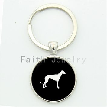 Greyhound Dog key chain cute pet dog profile silhouette art keychain best friends personalized lovely dog lovers gifts KC413