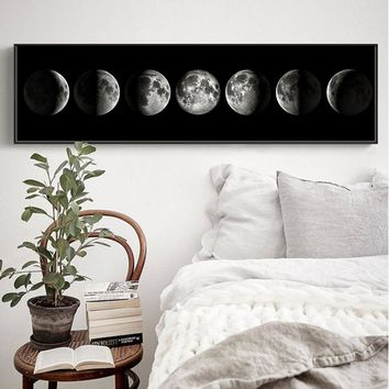 The Moon Phase Black White Posters Canvas Art Prints Nordic Wall Art Abstract Painting Wall Picture for Living Room Home Decor