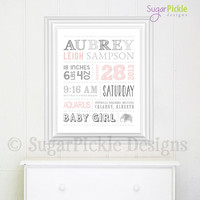 birth print // girls birth stats // personalized baby decor // baby birth stats // baby girl wall decor // new baby gift