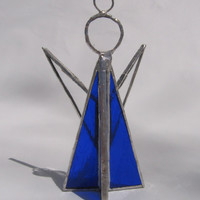 Stained Glass Angel Christmas Ornament 3D Cobalt Blue