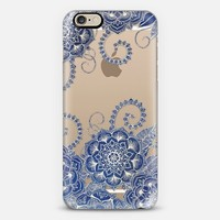 Mermaid's Garden - Navy & Teal Floral on Crystal Transparent iPhone 6 case by Micklyn Le Feuvre | Casetify