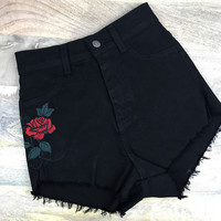 Rose Embroidered High Waisted Shorts