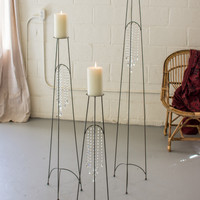 Set of 3 Raw Metal Floor Candle Towers with Gems