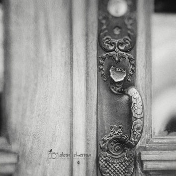 Door Photography, Foyer & Entryway Wall Art, Rustic Decor, Vertical Architecture Print, Black and White | 'Main Entrance'