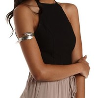 Silver Etched Feather Arm Cuff by Charlotte Russe