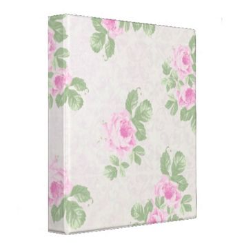 Vintage floral chic pink roses binders from Zazzle.com