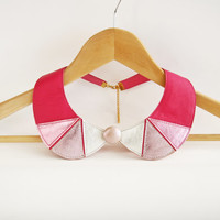 Leather Necklace Pink and Silver Peter Pan Detachable Collar Geometric Shapes Europeanstreetteam Valentine Day's Gift