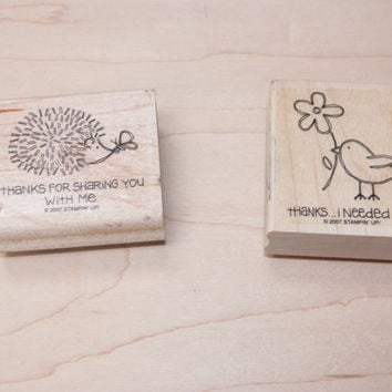 Stampin Up Fun and Fast Notes Thanks Hedgie and Bird Wood Block Stamp Set of 2