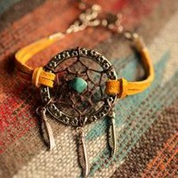 NEW Color Gold Suede Dreamcatcher Bracelet by TurquoiseCrush on Zibbet