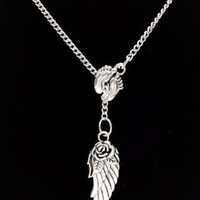 Baby Footprints Angel Wing Guardian Angel In Memory Lariat Style Necklace