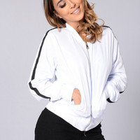 Good Sport Bomber Jacket - White/Black
