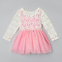 Sweet Cheeks Pink & White Claire Lace Dress - Infant, Toddler & Girls   Something special every day