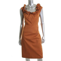 Elie Tahari Womens Roxanna Ruffled Sleeveless Wear to Work Dress