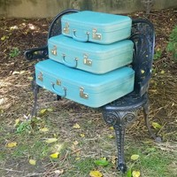 Vintage Blue Stacking Nesting Suitcases Three Piece Set