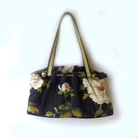 Vintage Spencer & Rutherford floral dark blue and white fabric handbag