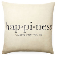 """Happiness"" 20x20 Pillow, White, Decorative Pillows"