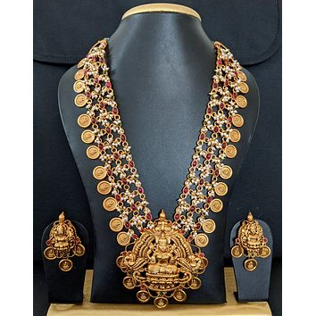 Statement Necklace - Traditional coin design Matte gold finish broad necklace and earring set