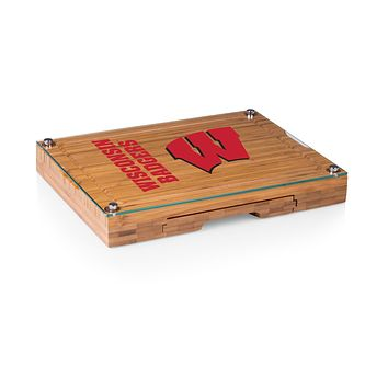 Wisconsin Badgers - Concerto Glass Top Cheese Cutting Board & Tools Set, (Bamboo)