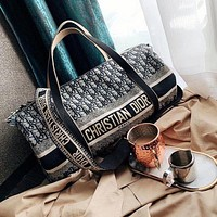 DIOR New Products Hot Sale Letters Fully Printed Embroidered Canvas Travel Bag Travel Bag Shoulder Bag Messenger Bag