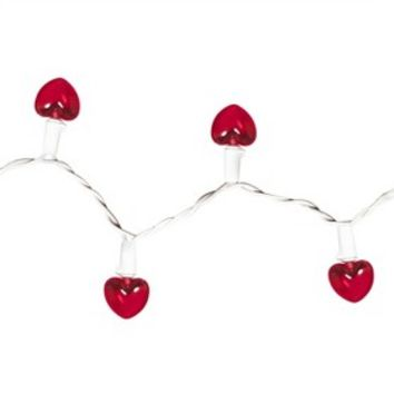 20ct Red Battery Operated LED Heart String Lights