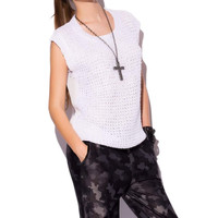 Q2 White Knit Top With Sequin