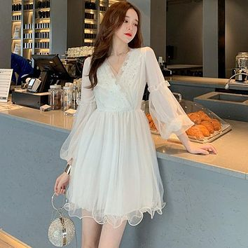 Personality Dress Retro Mesh V-neck Lace Dress  Clothes Long Pleated Dresses Preppy Style