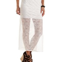 Ivory Geometric Lace Slit Maxi Skirt by Charlotte Russe