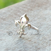 Fleur De Lis Ring - Sterling silver - French - Louisiana - Cajun - Saints - New Orleans - french lily