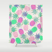 Pineapple Pandemonium Pink Punch Shower Curtain by Lisa Argyropoulos