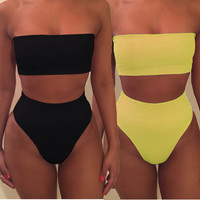 Strapless Sexy off shoulder strapless nude two piece high waist  Black bikini Two Piece Black-yellow