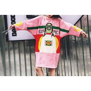 GUCCI Popular Women Loose Cat Head Letter Digital Print Breathable Comfortable Dress I-CY-MN