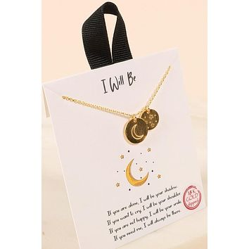 """""""I Will Be"""" 18kt Gold Dipped Crescent Moon and Stars Necklace"""