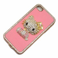 Hello Kitty Luxury Pink Leather Rhinestone Crystal Case Cover for Iphone 5