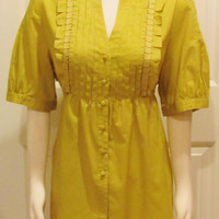 Chartreuse Top Chartreuse Shirt Yellow Top Yellow Shirt Green Top Green Shirt Vintage Shirt Vintage Top Yellow Tunic XL Top Plus Size Shirt