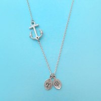 Anchor, Initial, Necklace, Personalized, Anchor, Initial, Jewelry