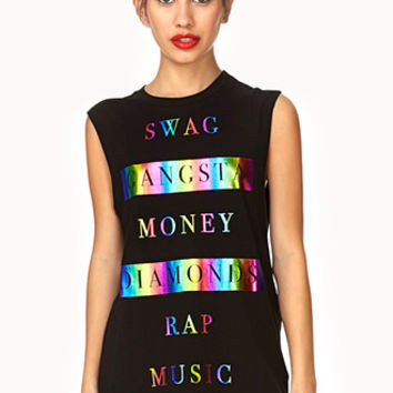 FOREVER 21 Swag Metallic Muscle Tee Black/Pink