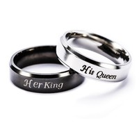 King Queen Ring Stainless Steel Rings For Women Men Jewelry Anel Masculino Couple Aneis Anillos Wedding Mujer Bague Dropshipping