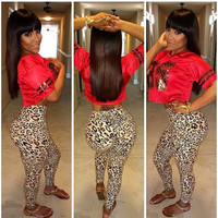 Crop Top with Leopard Printed Pants
