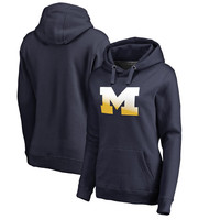 Michigan Wolverines Fanatics Branded Women's Gradient Logo Pullover Hoodie - Navy