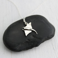 Manta Ray Necklace - Sterling Silver Stingray Necklace - Sea Creature Jewelry - Ocean Jewelry - Stingray Charm - Manta Ray Charm - Sea Charm