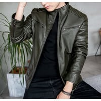Mens Stand Collar Motorcycle Faux Leather Jacket in Black