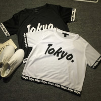 TOKYO Letter Print  Short Sleeves Cropped Top