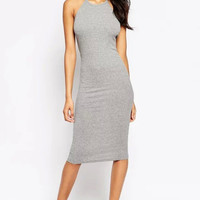 Grey Halter Sleeveless Bodycon Dress