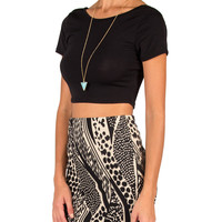Stretchy Black Crop Top - Small