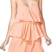 ROMWE Backless Layered Crepe Pink Strap Dress