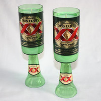 Recycled Beer Bottle - Dos Equis XX -  Goblet Candle - Custom Made