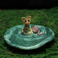 Calico Kitten Cute tiny ring dish handmade pottery
