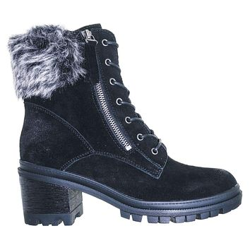 Uno01 Winter Leather Suede Combat Boot - Women Faux Fur Lug Sole Heels
